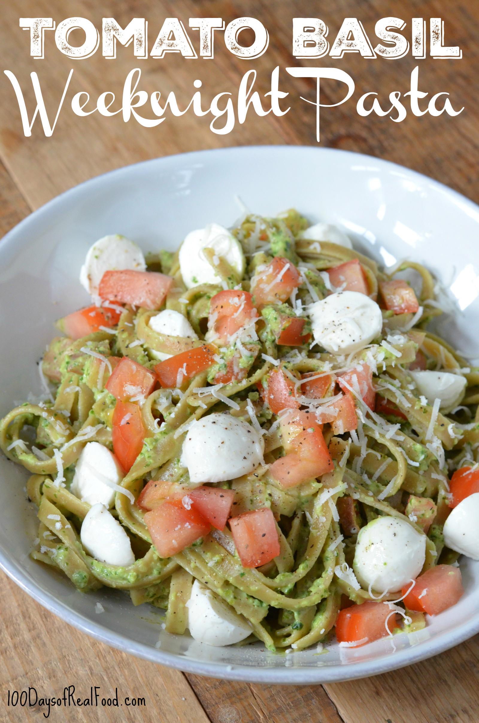 Tomato Basil Weeknight Pasta  in white bowl