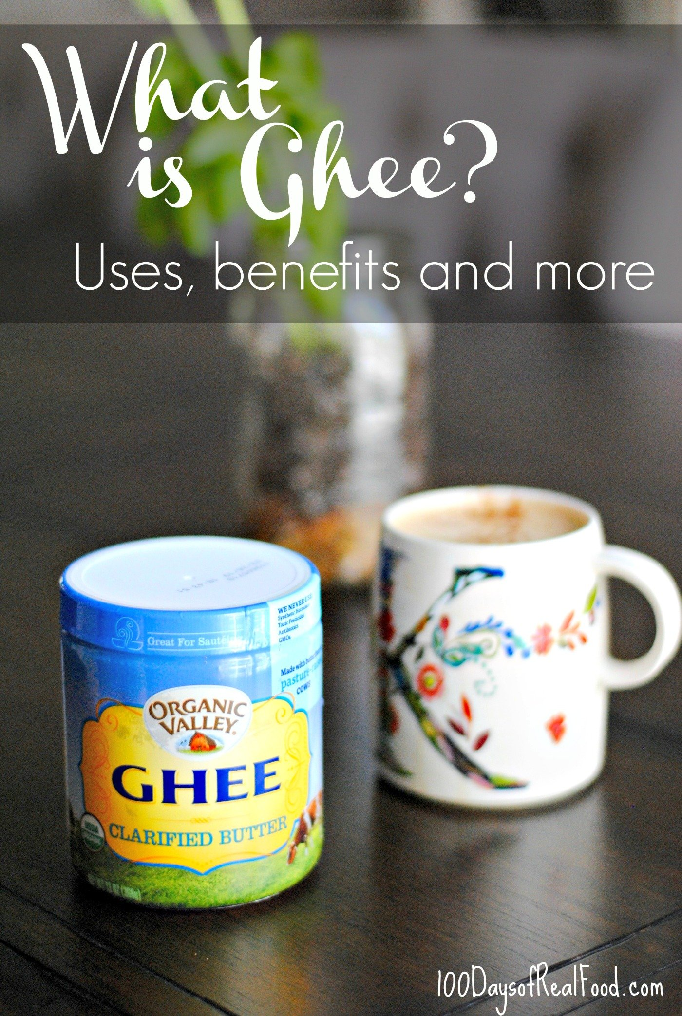 Jar of ghee and coffee mug