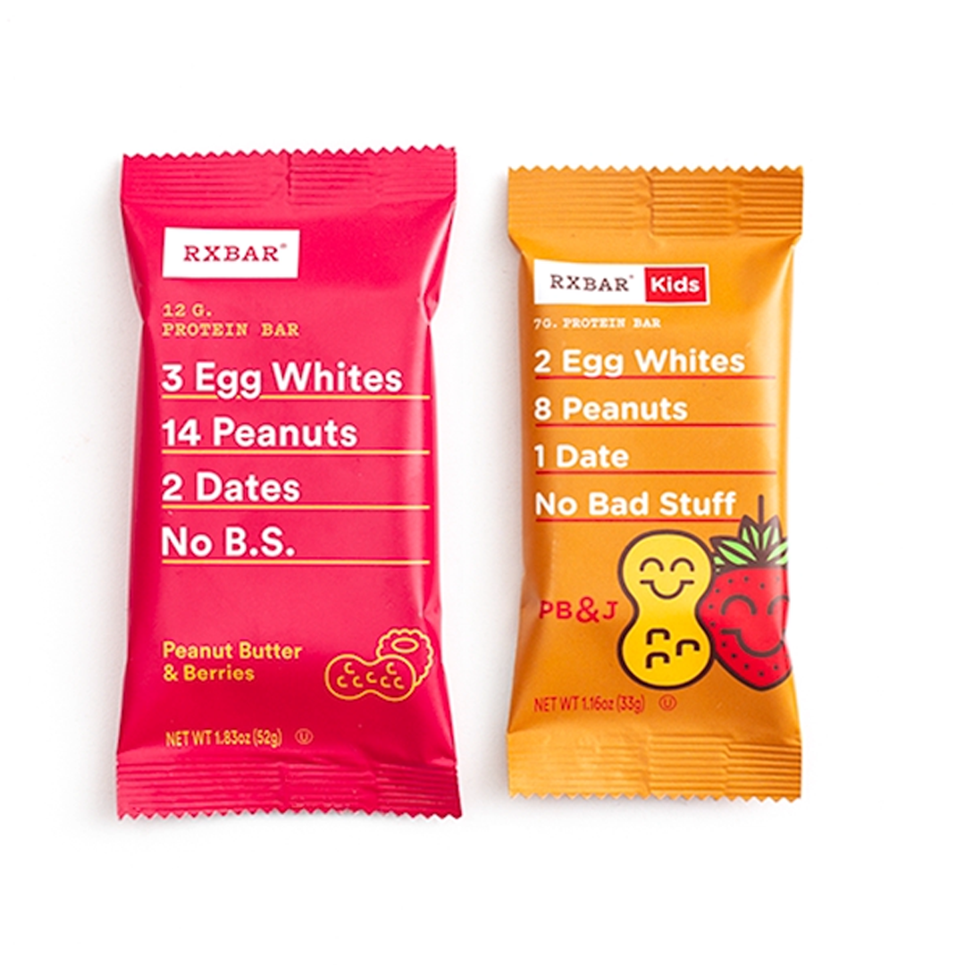 photo of RXBARs for kids and adults; avoid common food mistakes parents make by showing kids they can eat like you