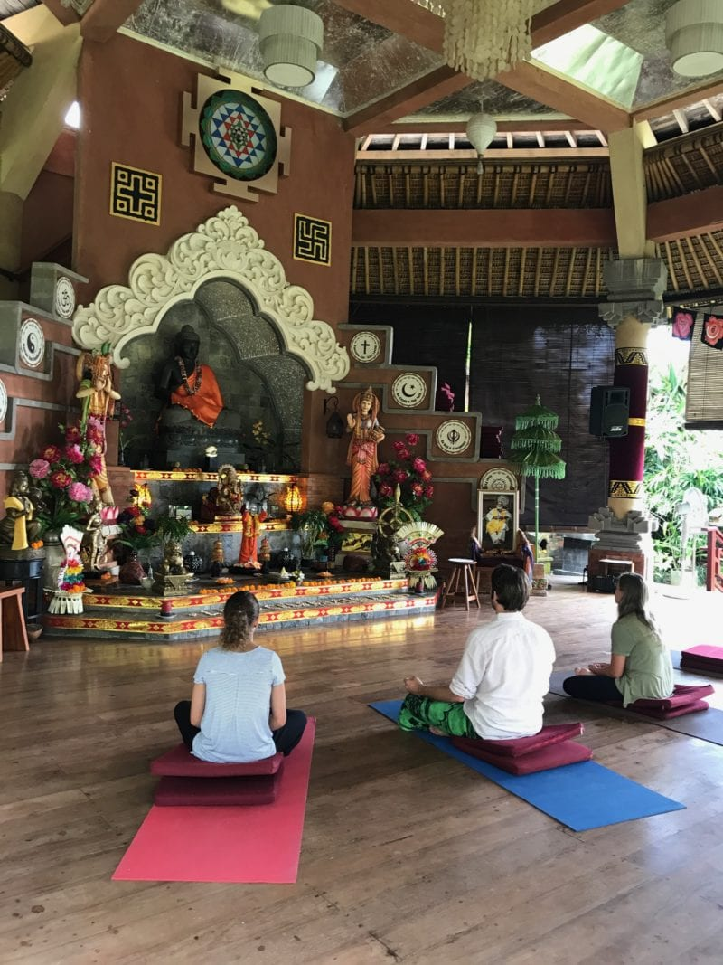 guided meditation at an ashram in Bali