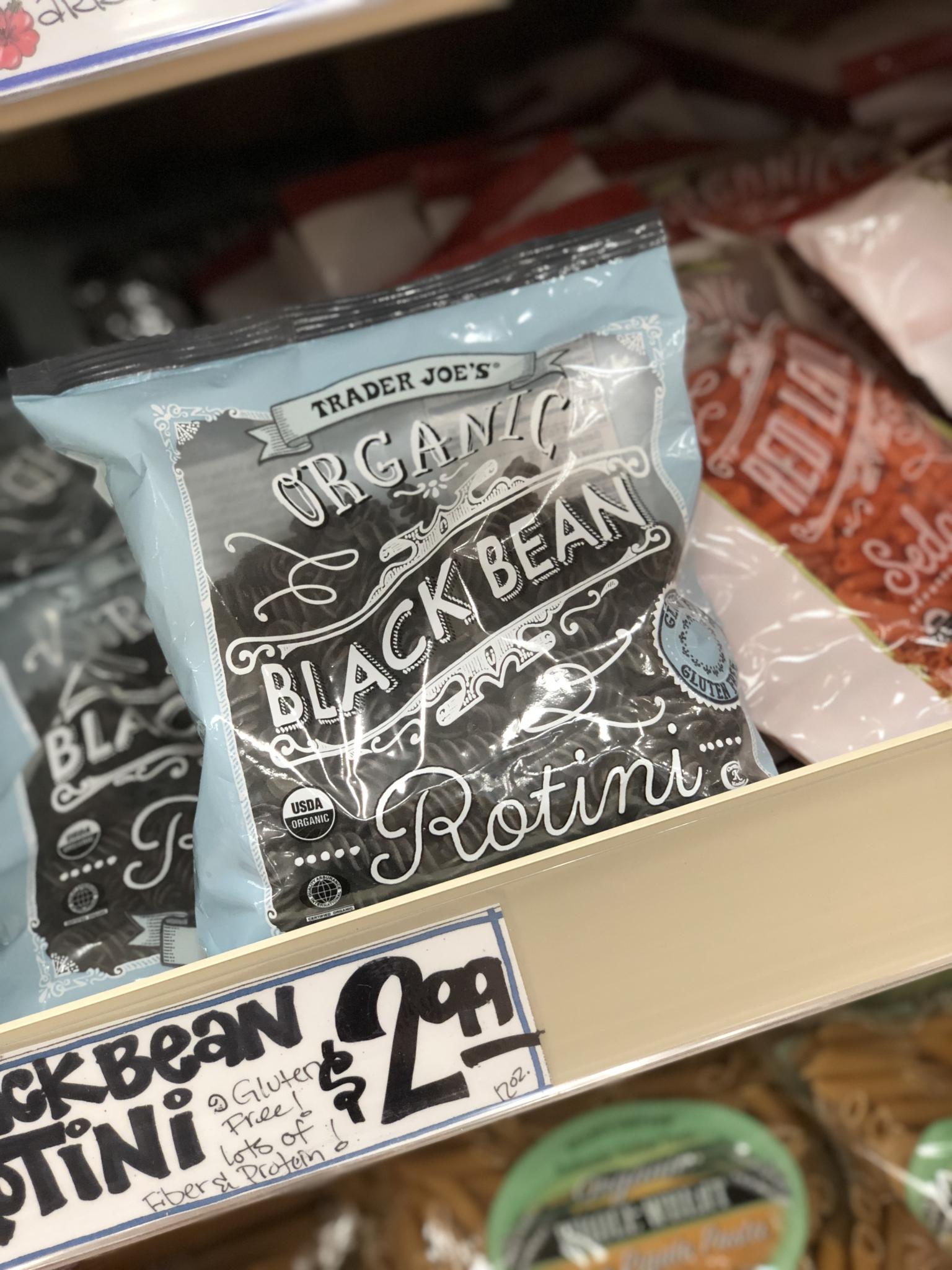 Gluten-free Organic Black Bean Rotini pasta from Trader Joe's
