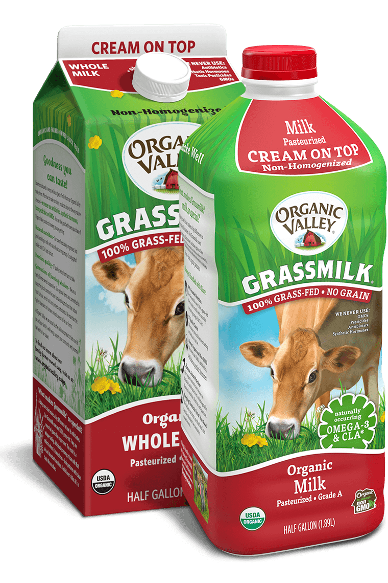 cartons of Organic Valley cream on top grassmilk