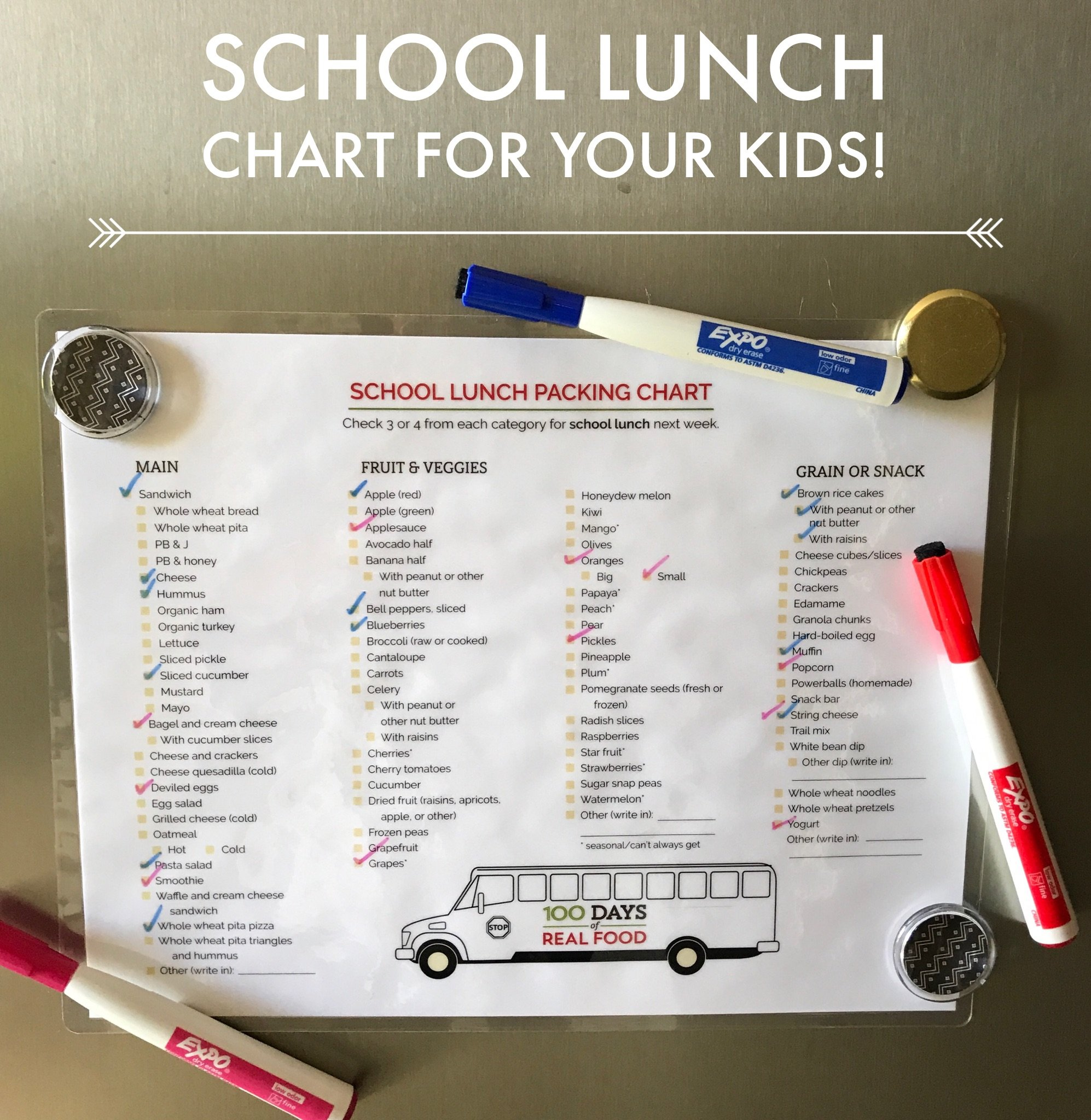 School Lunch Chart for Your Kids