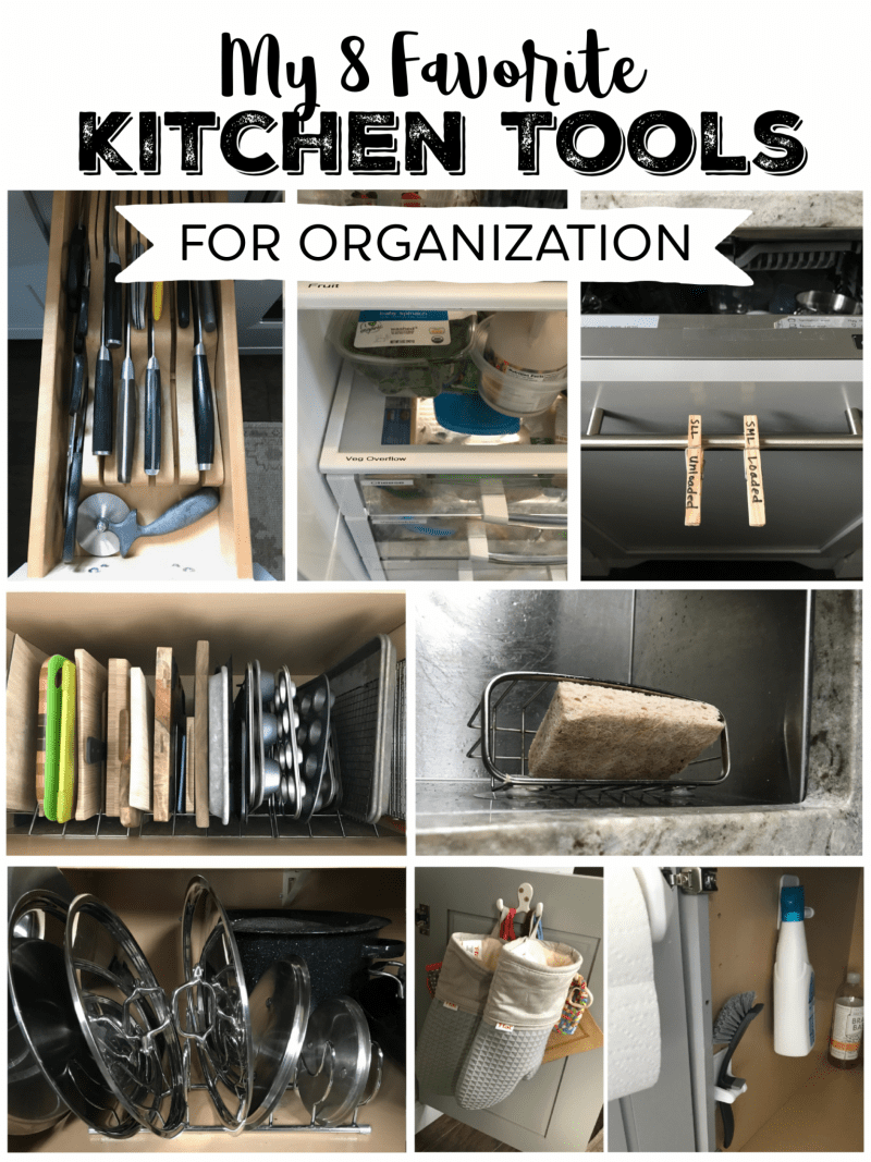Kitchen Organization Ideas including racks, hooks, sponge basket, drawer knife rack, and labels