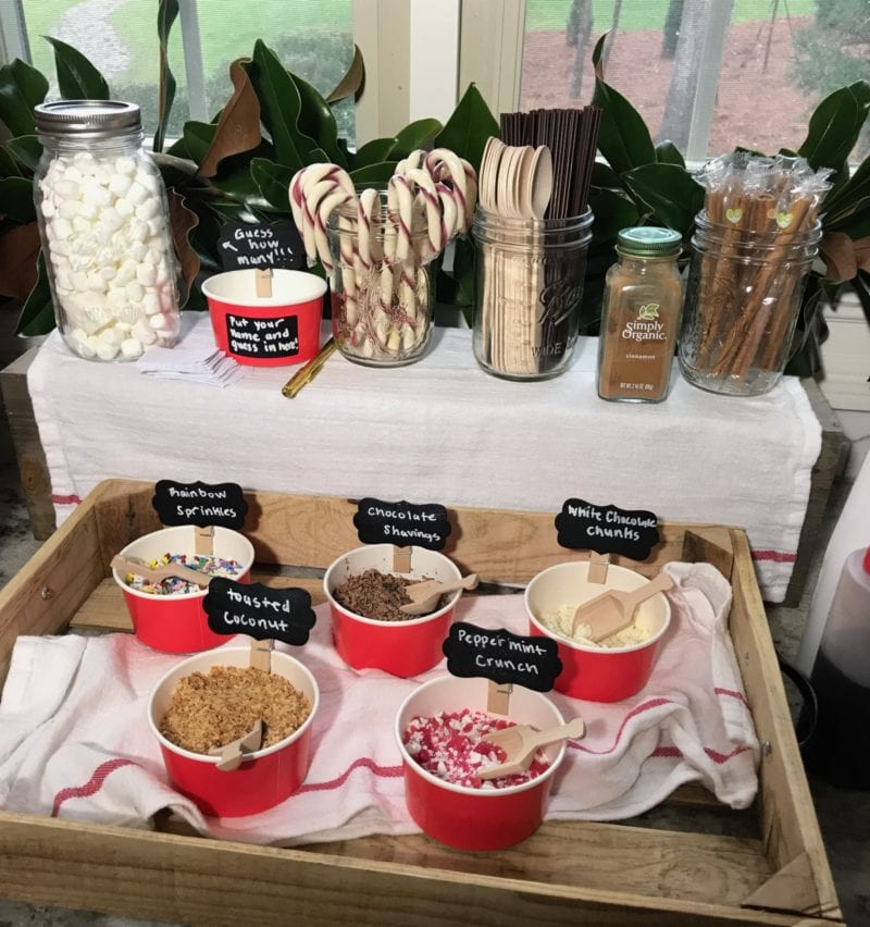 Hot Chocolate Bar setup on 100 Days of Real Food