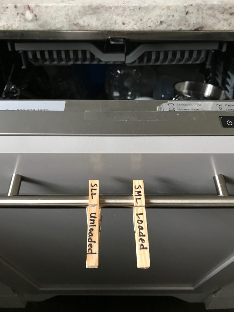 clothes pin clips to track dishwasher chores