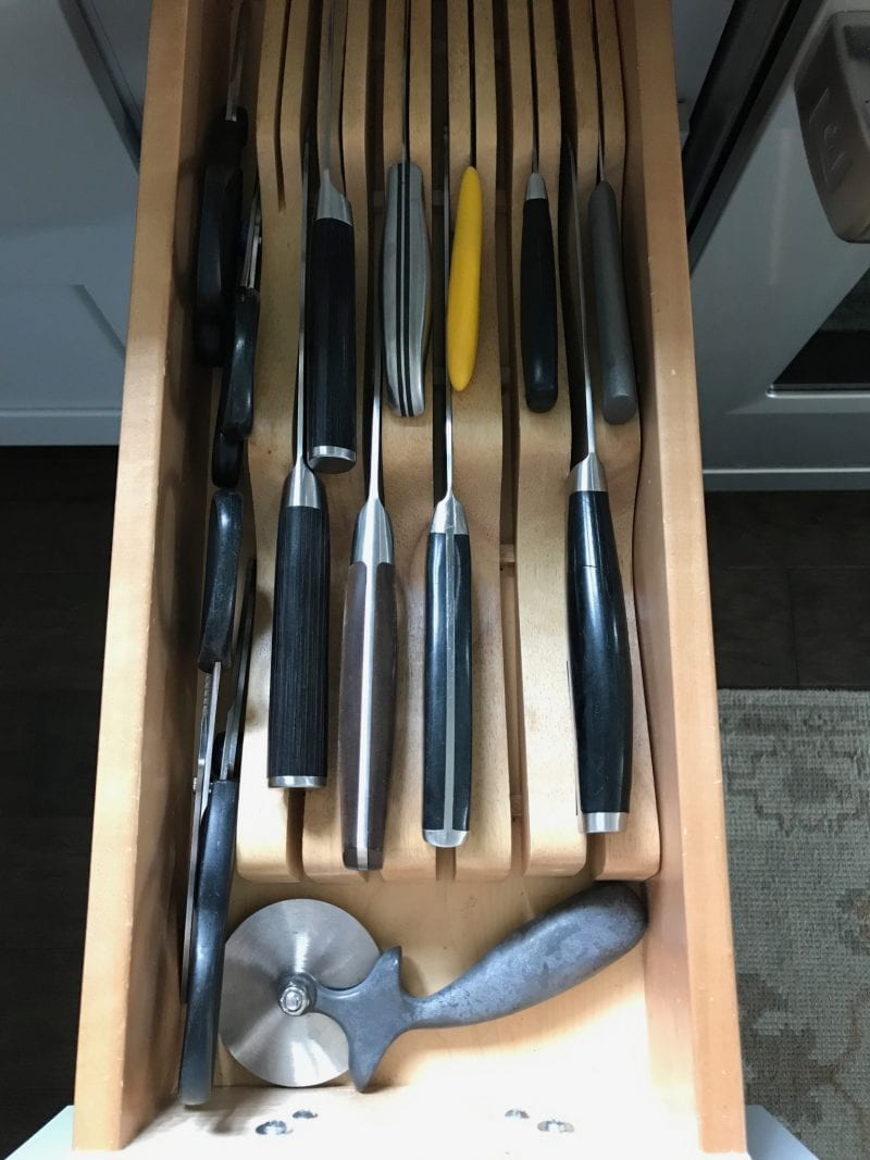 Knife block drawer organizer