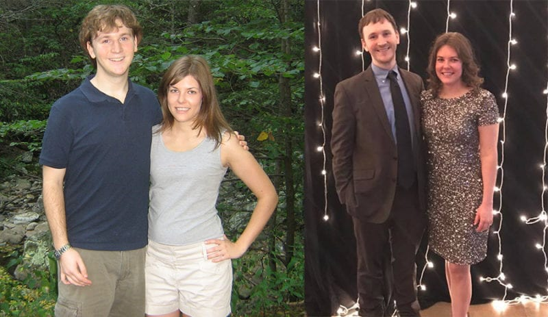Lindsey and husband before and after