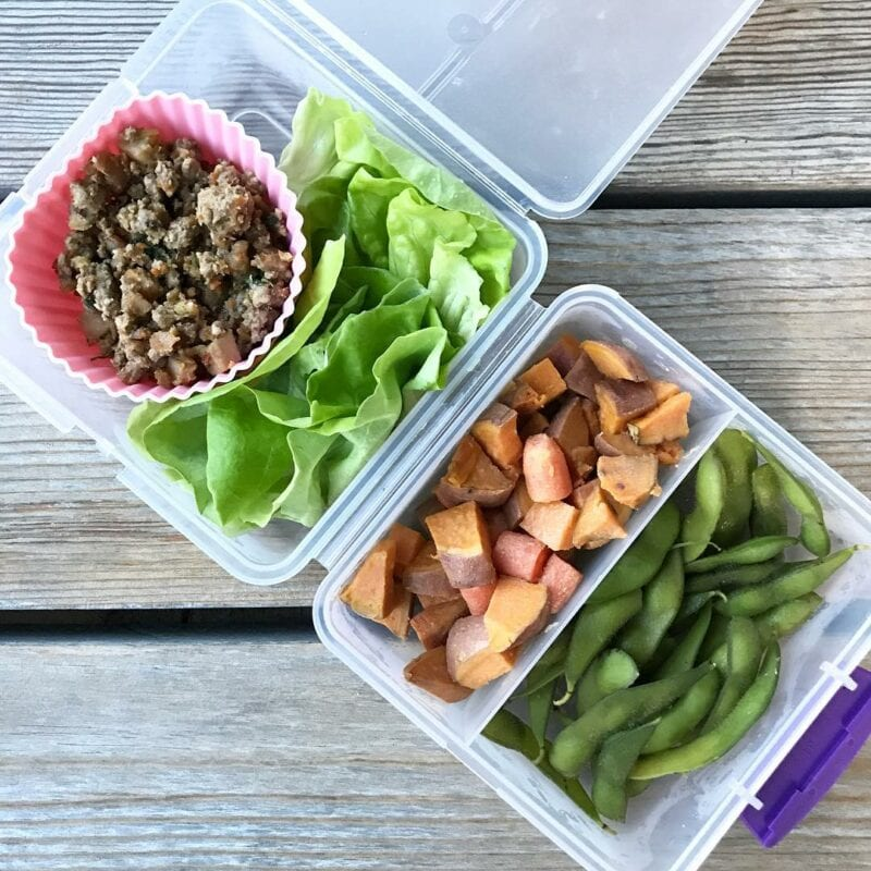 Pork Asian Lettuce Wraps (from my first #100dayscookbook ), Roasted Sweet Potatoes & Carrots (from #100daysonabudget cookbook), and edamame