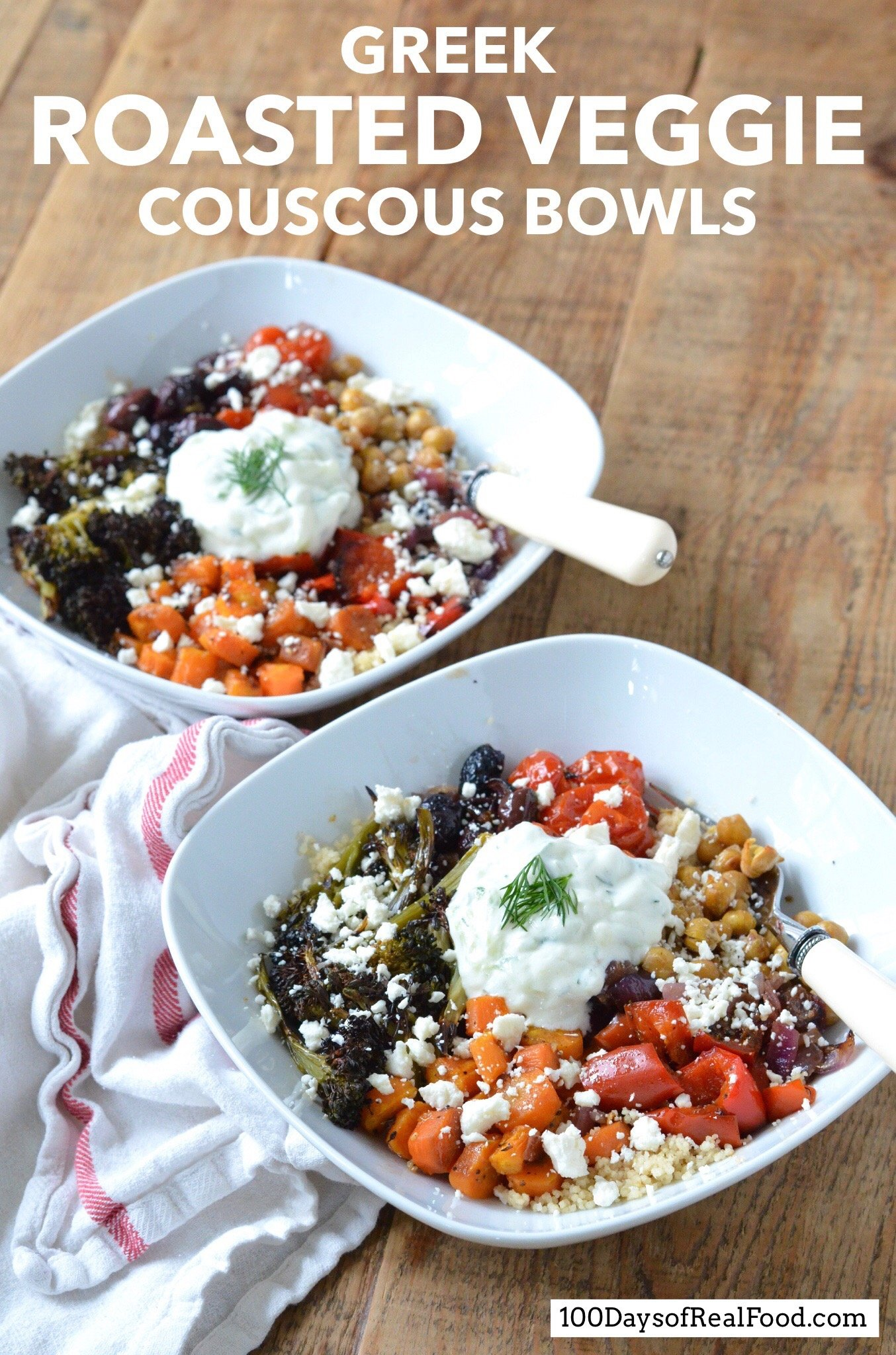 Two Roasted Veggie Couscous Bowls plated on a table