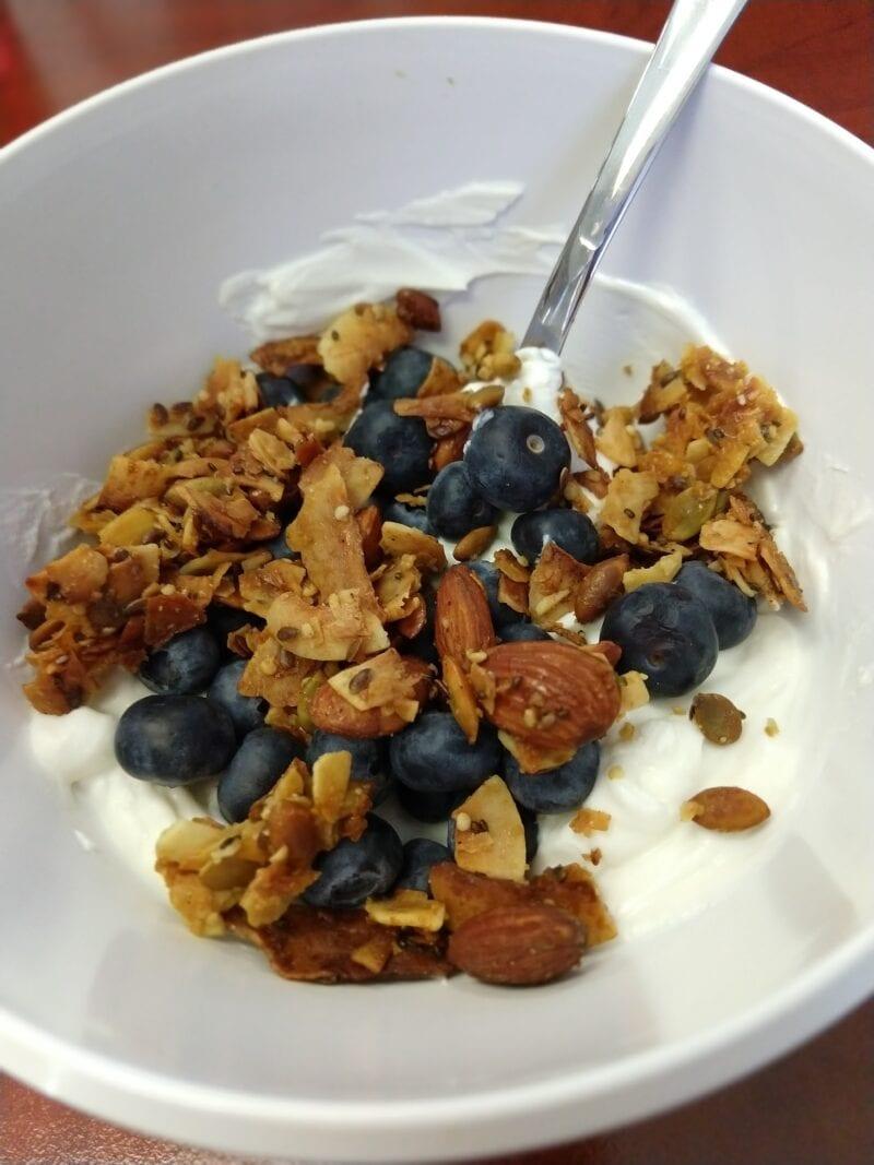 Greek yogurt with blueberries and homemade granola