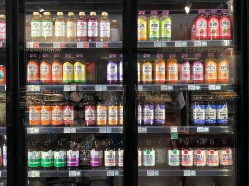 Kombucha bottles on display