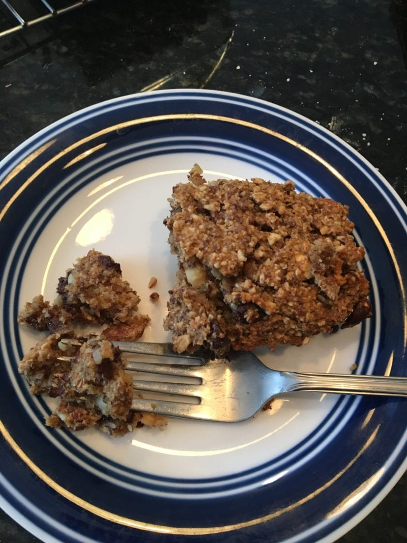 homemade hazelnut dark chocolate chip granola bar
