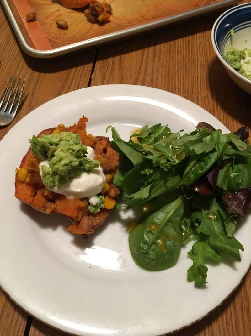 Loaded Mexican sweet potatoes with homemade guacamole