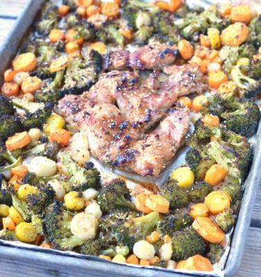 Asian Sheet Pan Balsamic Chicken and Veggies