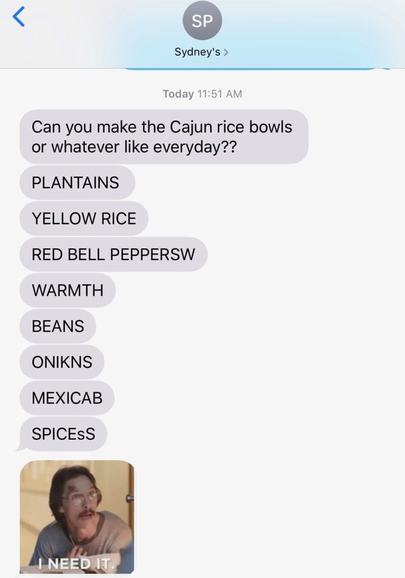 Lisa's daughter's text message about cuban rice bowls with plantains