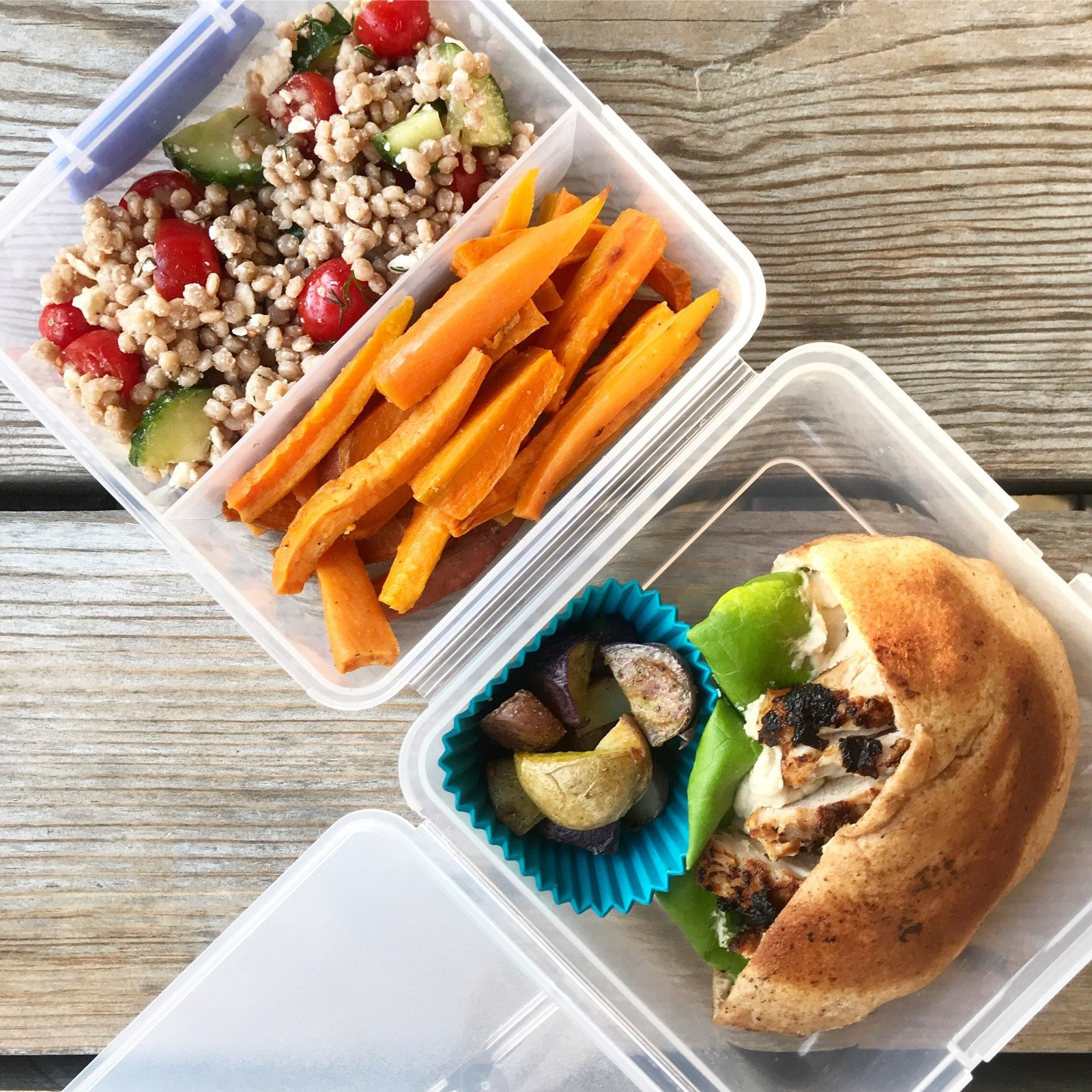 Yogurt Marinated Grilled Chicken with couscous salad in lunch box