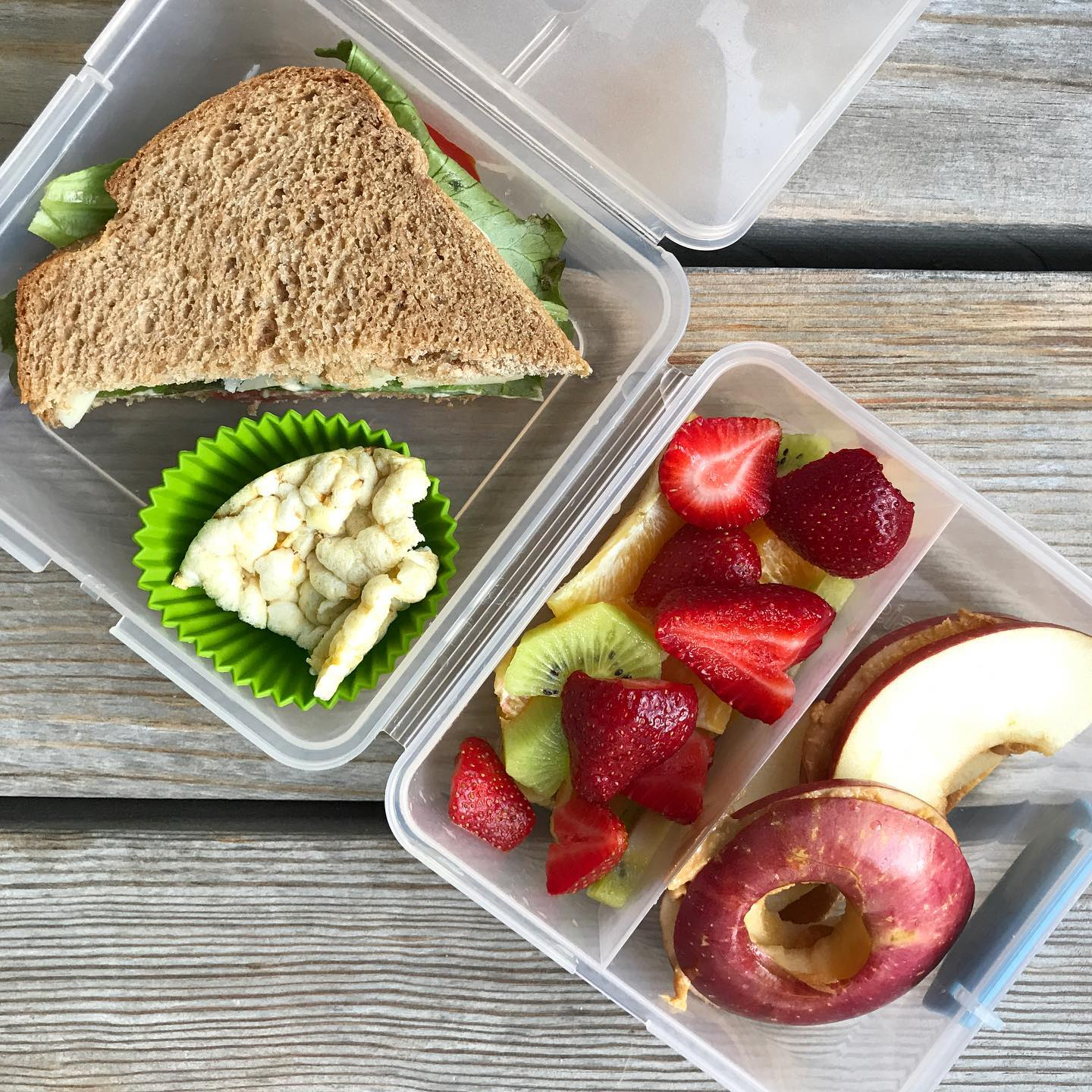 school lunch hummus/cheese/lettuce/tomato sandwich, popcorn cake, fruit mix (oranges, kiwi, strawberries), and some apple/PB sandwiches.