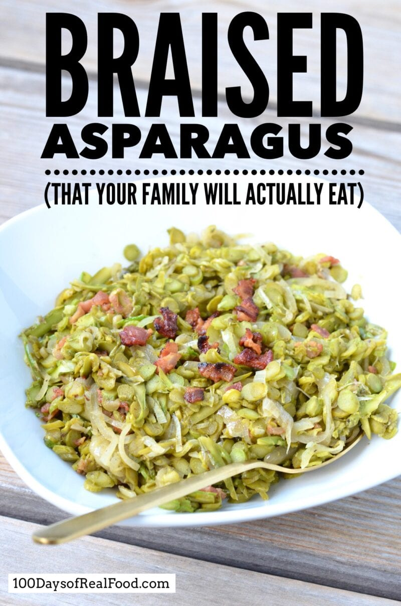 Braised Asparagus (that your family will actually eat) on 100 Days of Real Food