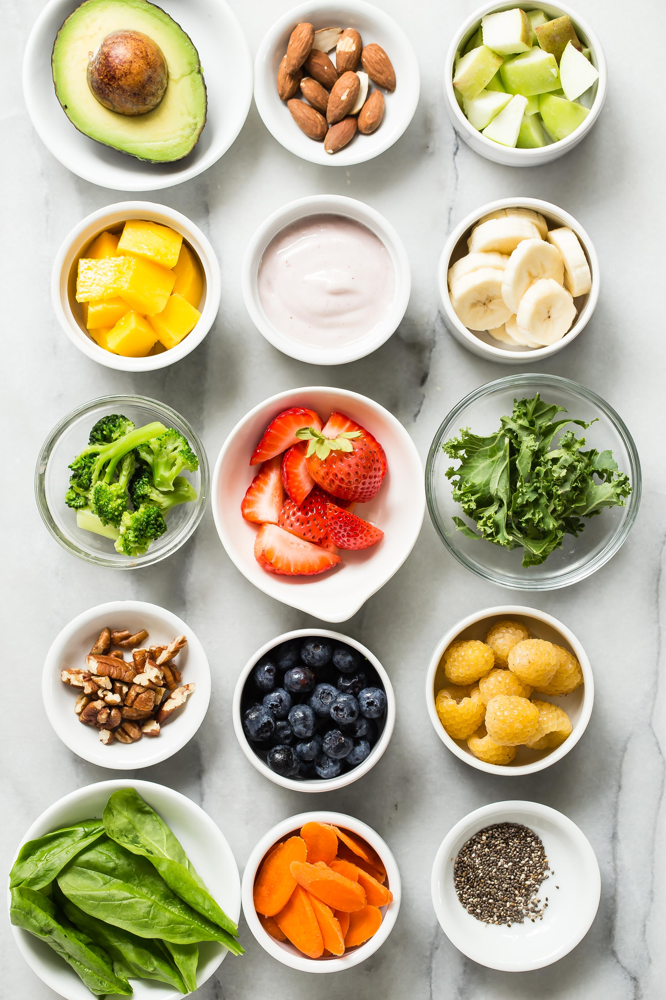 variety of fruits, veggies, proteins for smoothies
