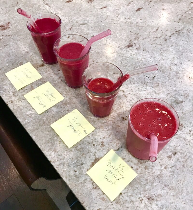 Tropical Beet Smoothies with different beets comparison