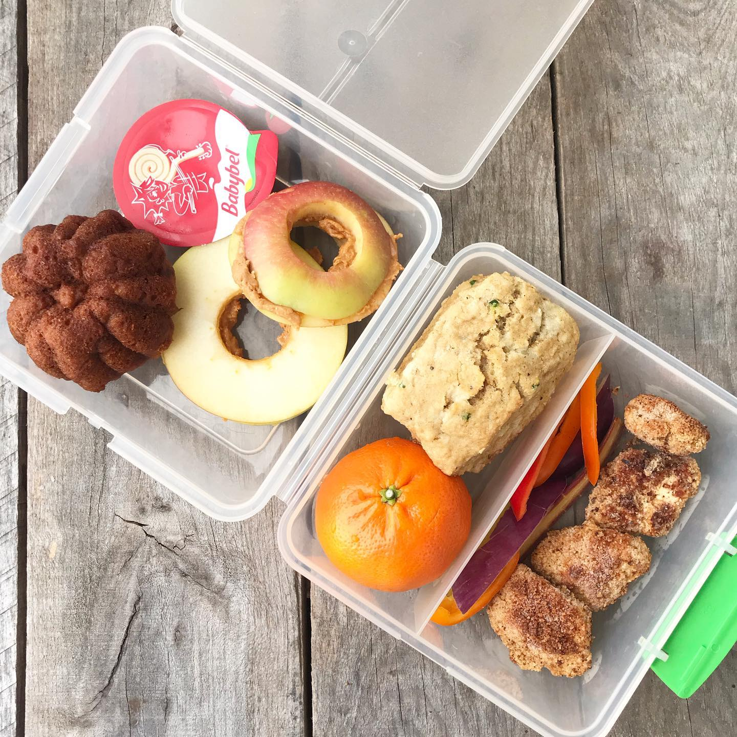 school lunch with apple sandwich, pumpkin muffin, and other snacks from 100 days of real food