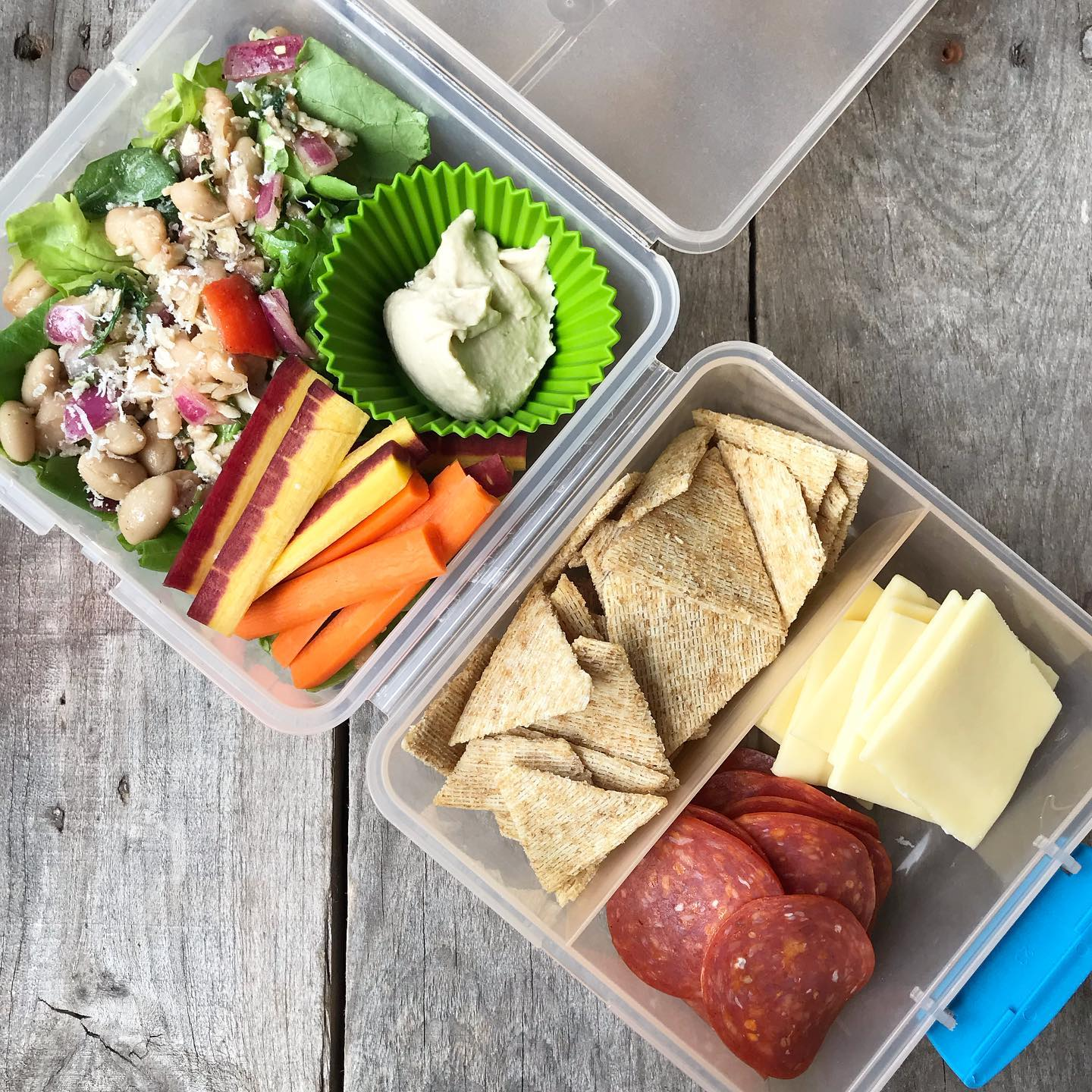 school lunch of crackers, cheese, white bean salad, carrots, and hummus from 100 days of real food