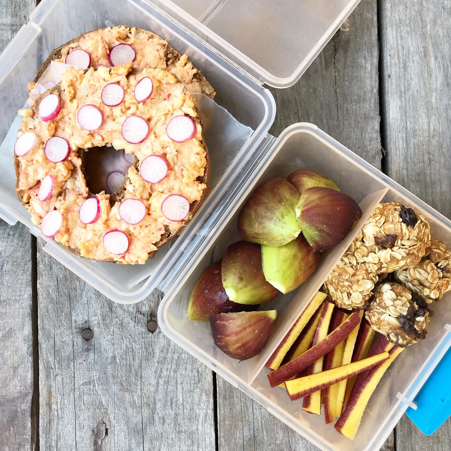school lunch with bagel and cream cheese, figs, and energy bites from 100 days of real food