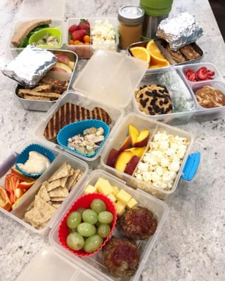 school lunches on table from 100 days of real food