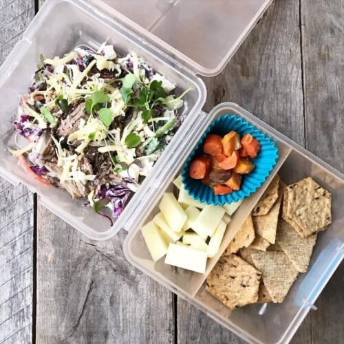 salad with pork carnitas and crackers and cheese from 100 Days of Real Food