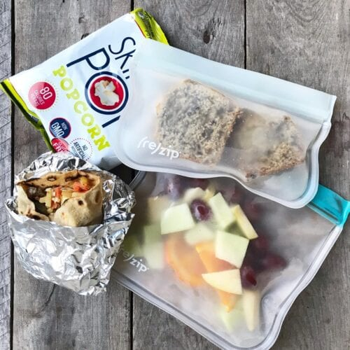 school lunch burrito and banana bread from 100 days of real food