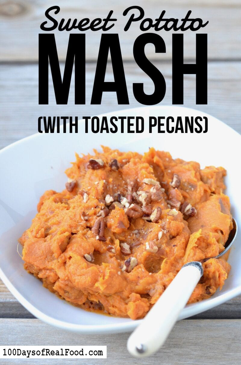 Sweet potato mash with toasted pecans in a bowl