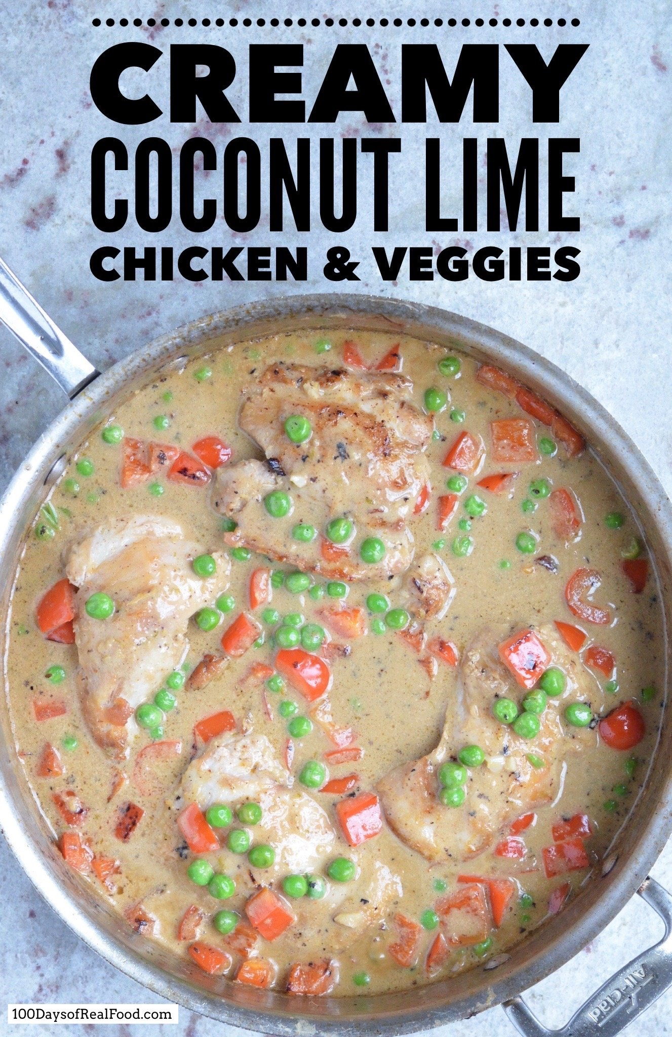 Coconut lime chicken and veggies on 100 Days of Real Food