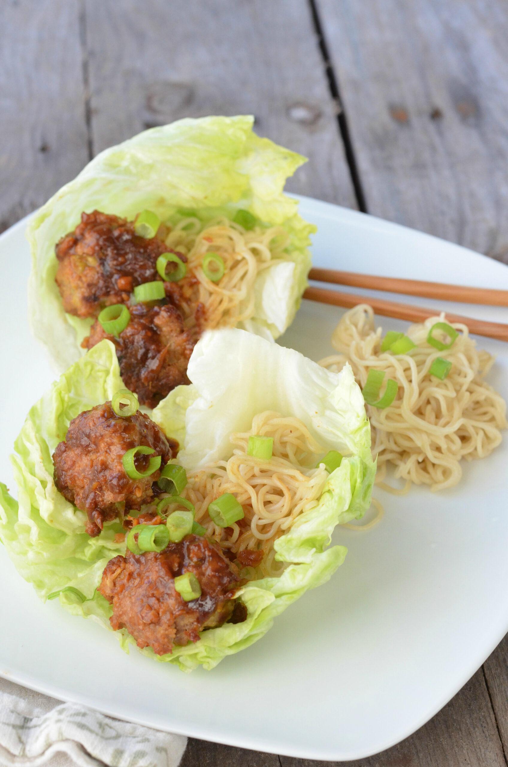 Meatball lettuce wrap recipe with teriyaki glaze