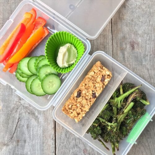 School Lunch cereal bars and broccoli on 100 Days of Real Food