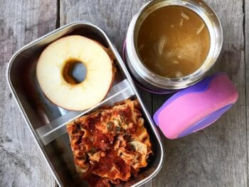 School Lunch lasagna and soup on 100 Days of Real Food