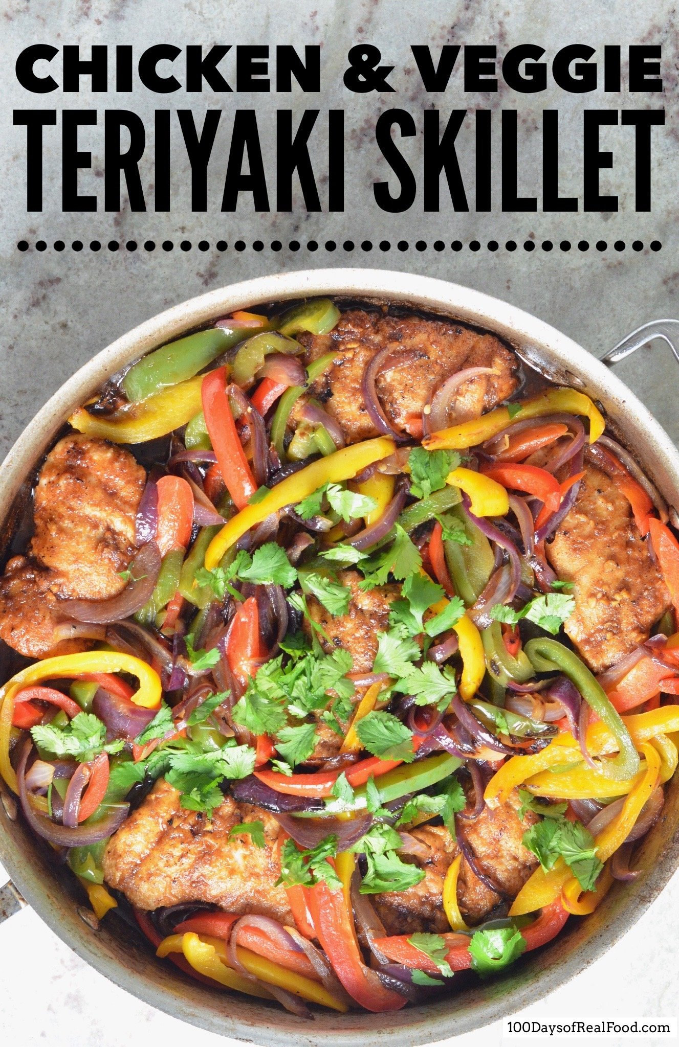 Chicken and Vegetable Teriyaki in skillet with cilantro on top