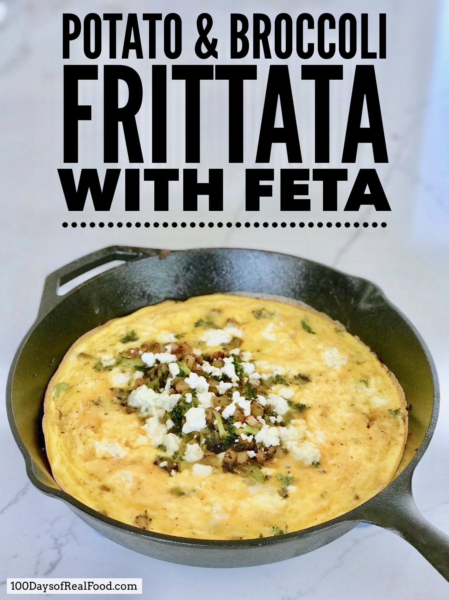 Potato and Broccoli Frittata in a cast iron skillet