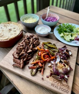Grilled Steak and Pepper Fajitas on 100 Days of Real Food