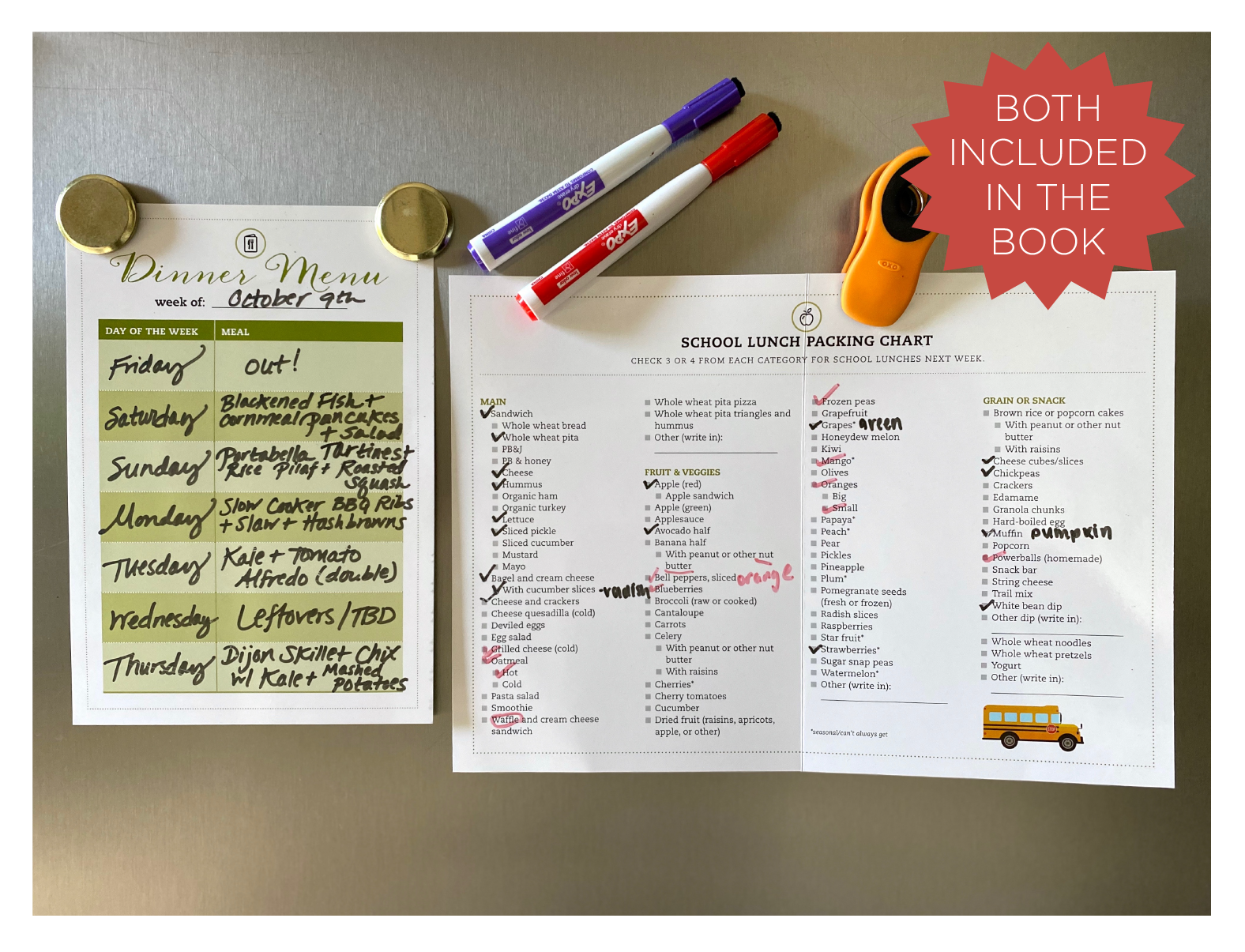 Laminated meal plans included in Meal Planner