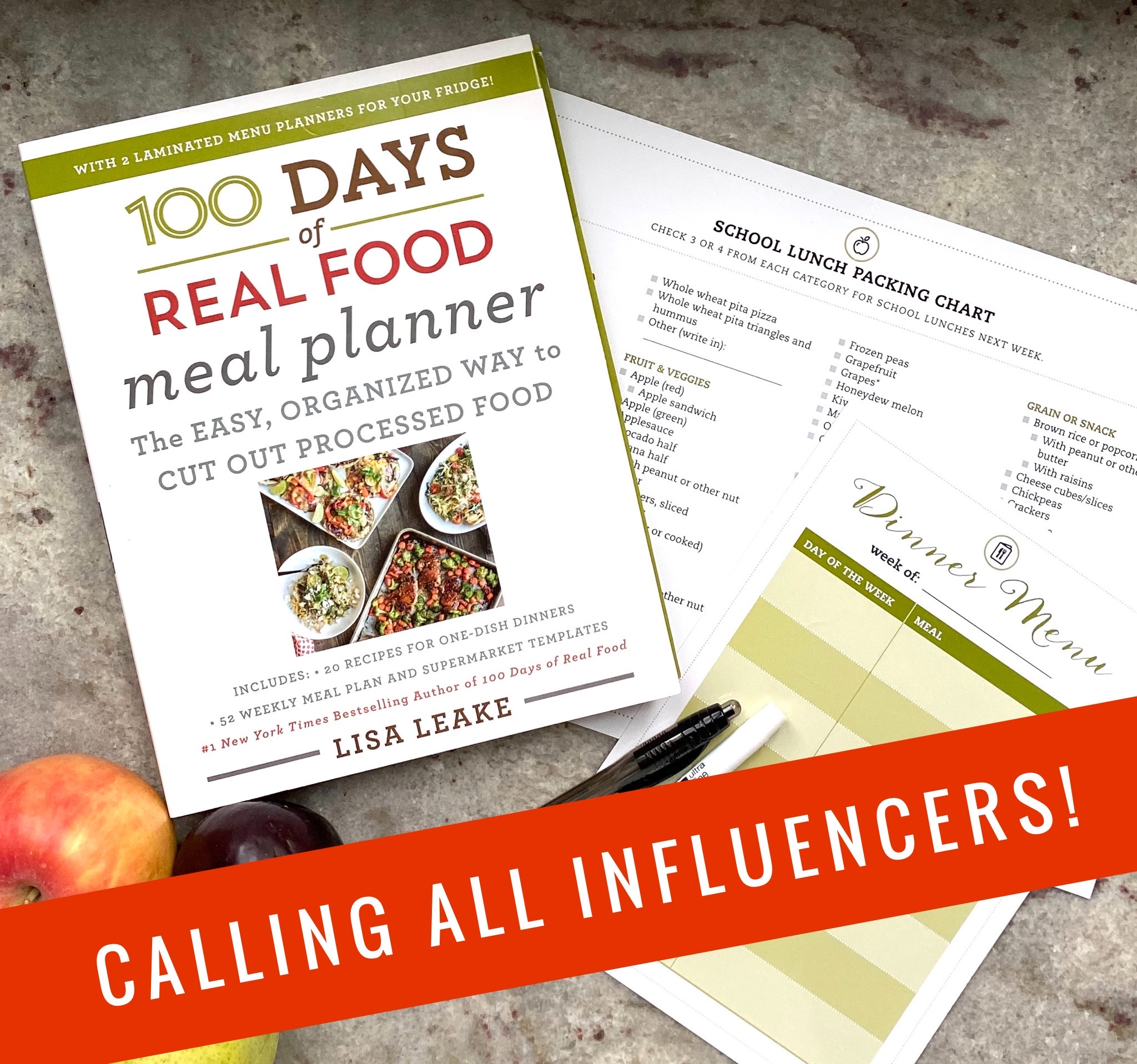 Meal Planner Workbook on 100 Days of Real Food