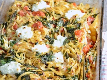 Roasted Garlic and Tomato Pasta with Kale on 100 Days of Real Food