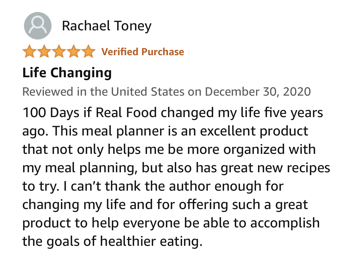 100 Days of Real Food Meal Planner Reviews