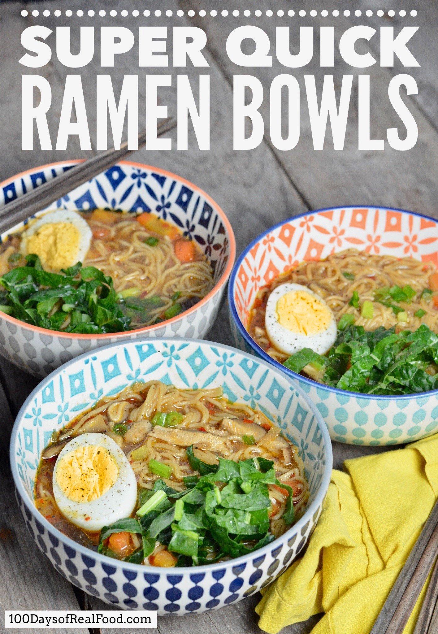 Three Ramen soups in vibrant colored bowls