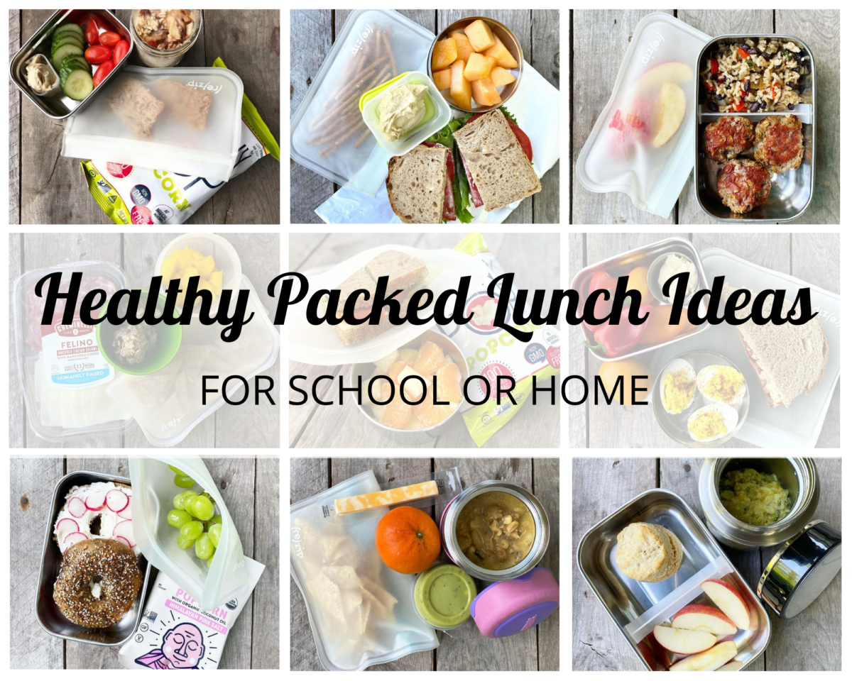 A variety of healthy packed school lunch ideas.