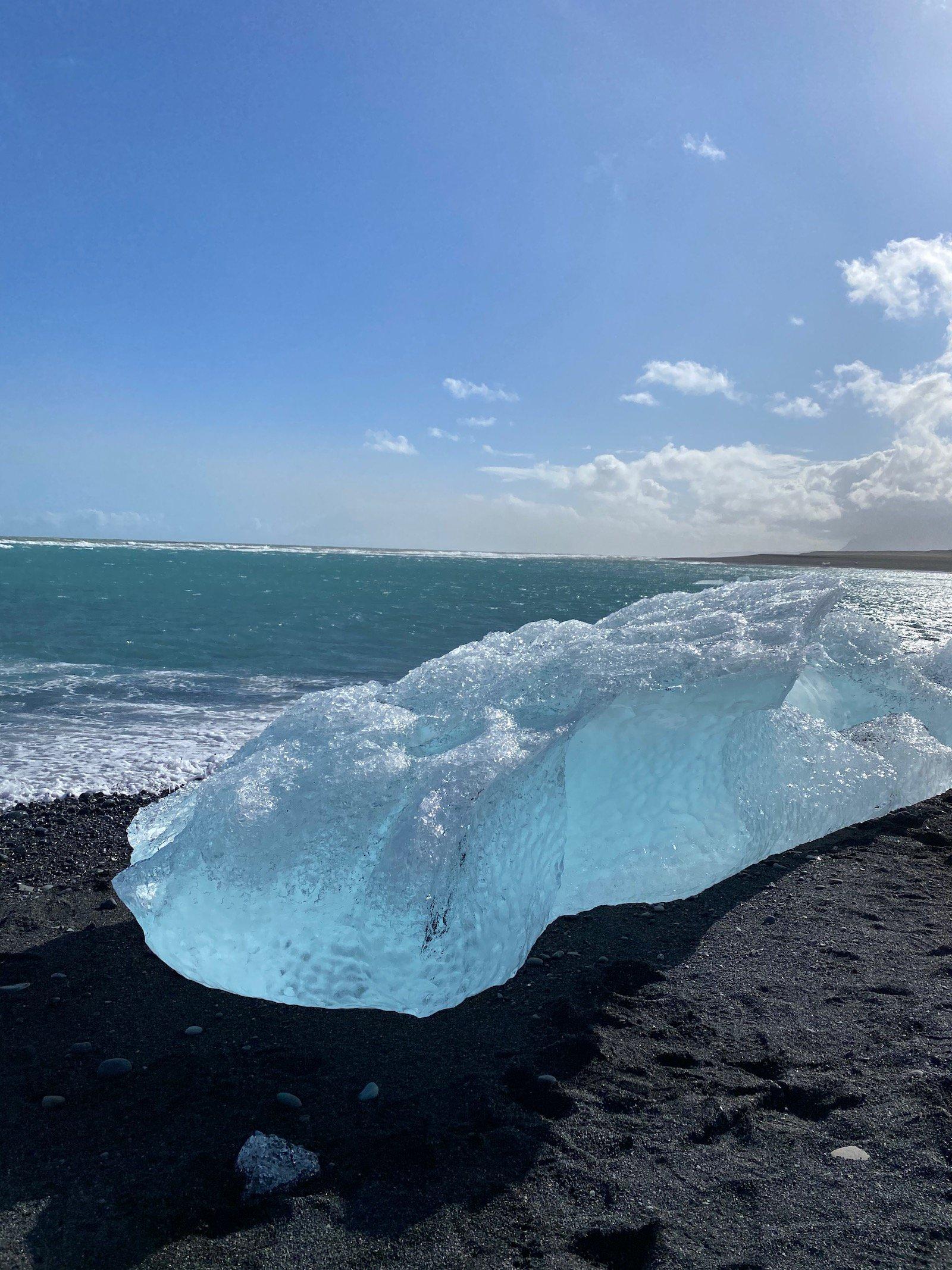 A giant block of ice on Diamond Beach in Iceland.