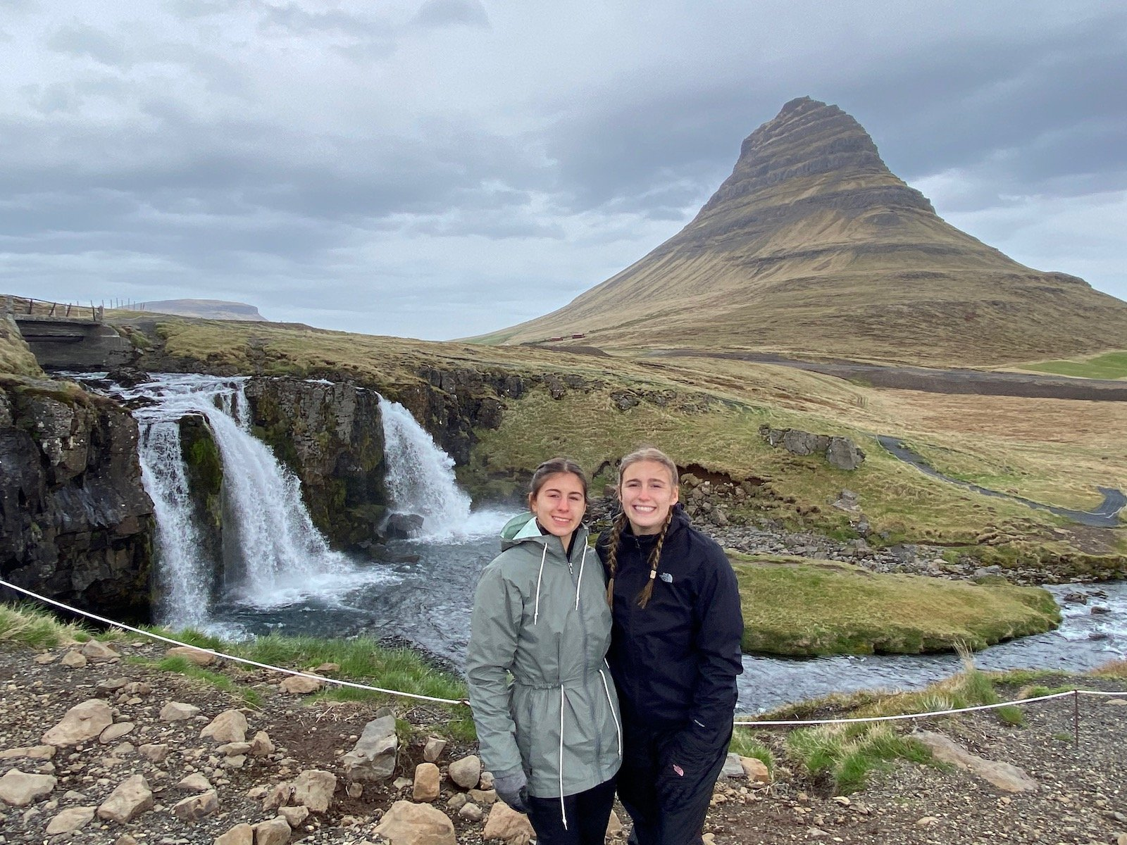 Sisters posing at the Falls by Kirkjufell Mountain (from Game of Thrones) on the Snæfellsnes Peninsula.