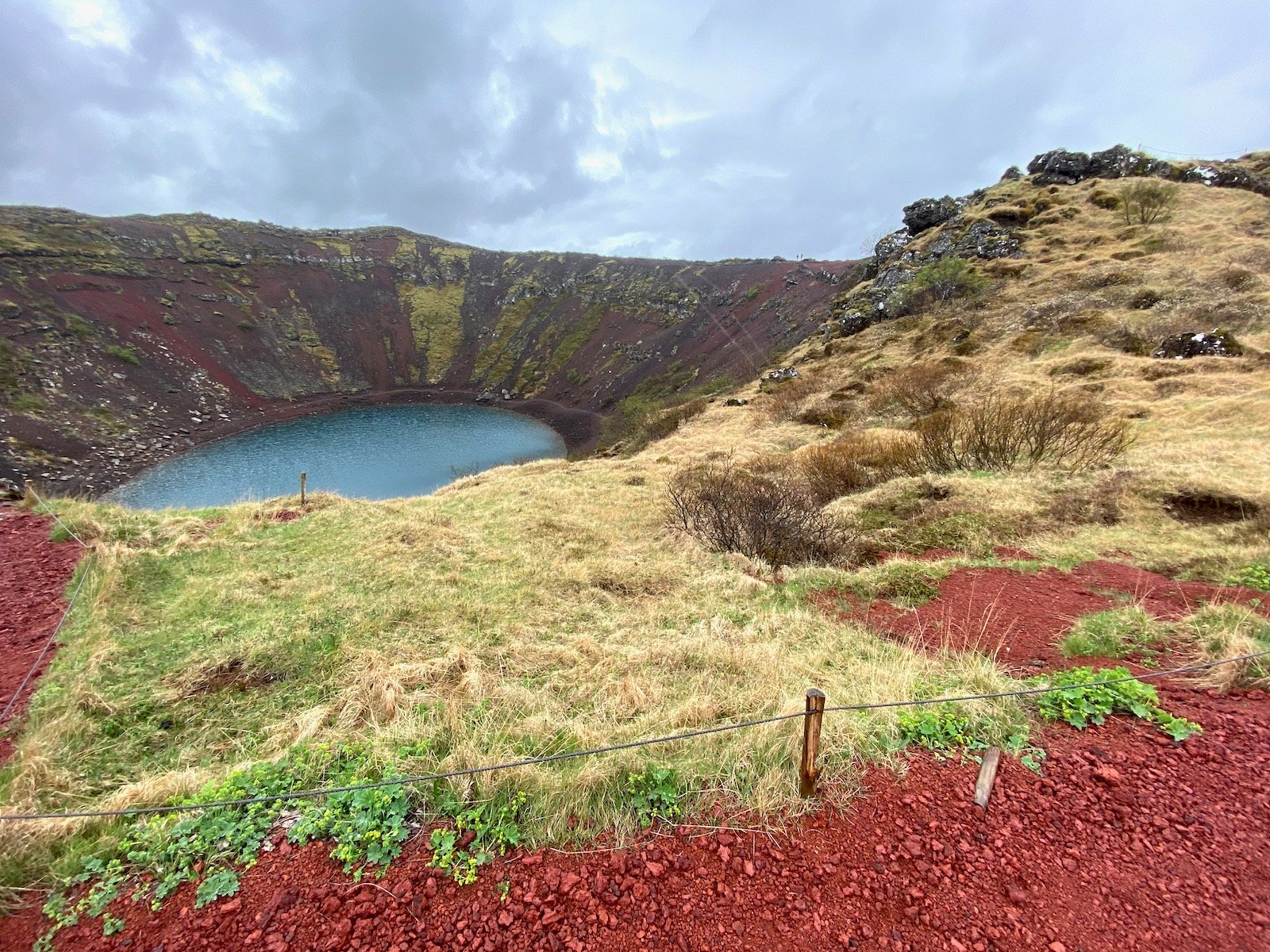 Scenic view of Kerid Crater in Iceland.