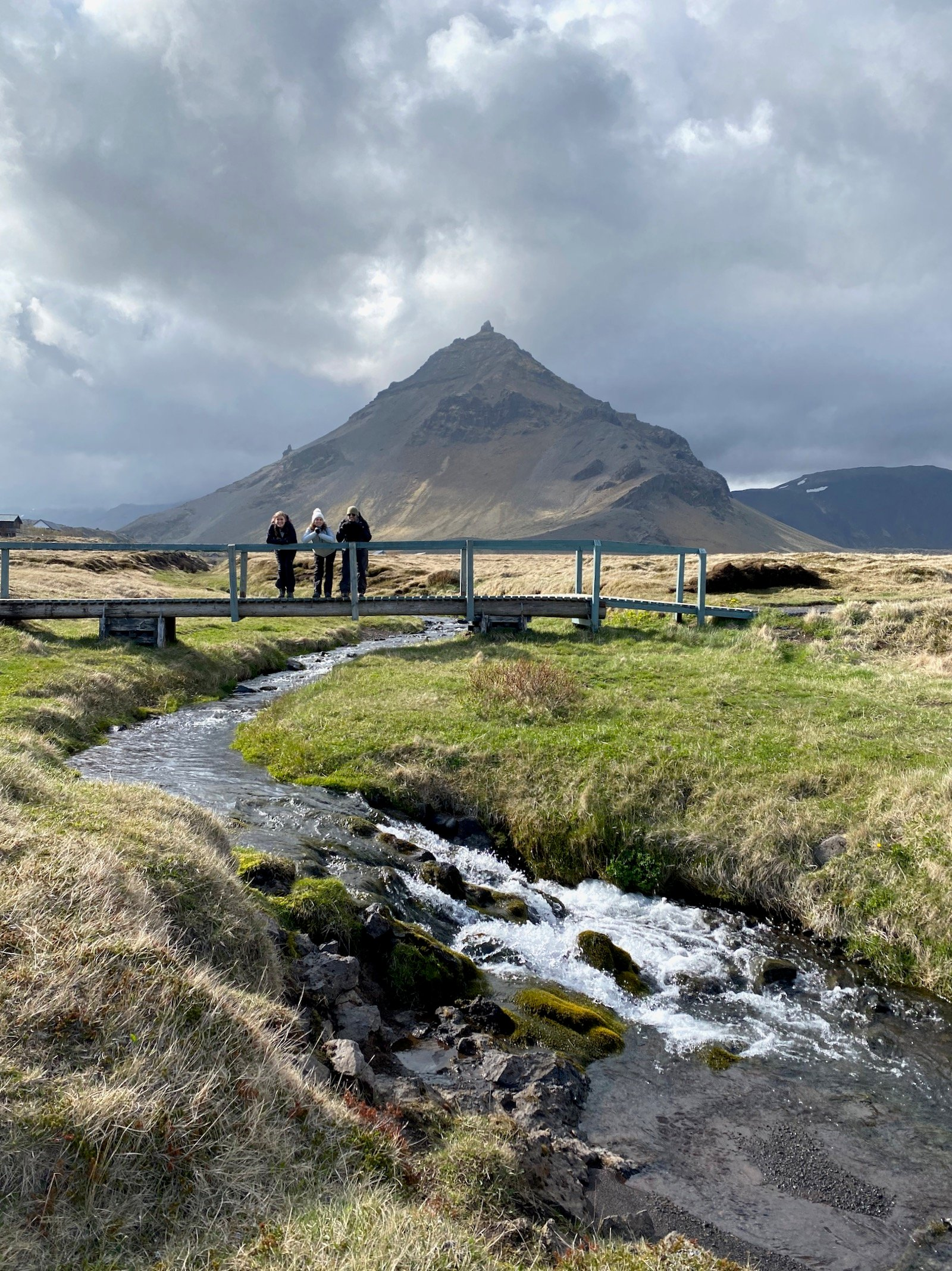 Family on small bridge overlooking a creek in Iceland.