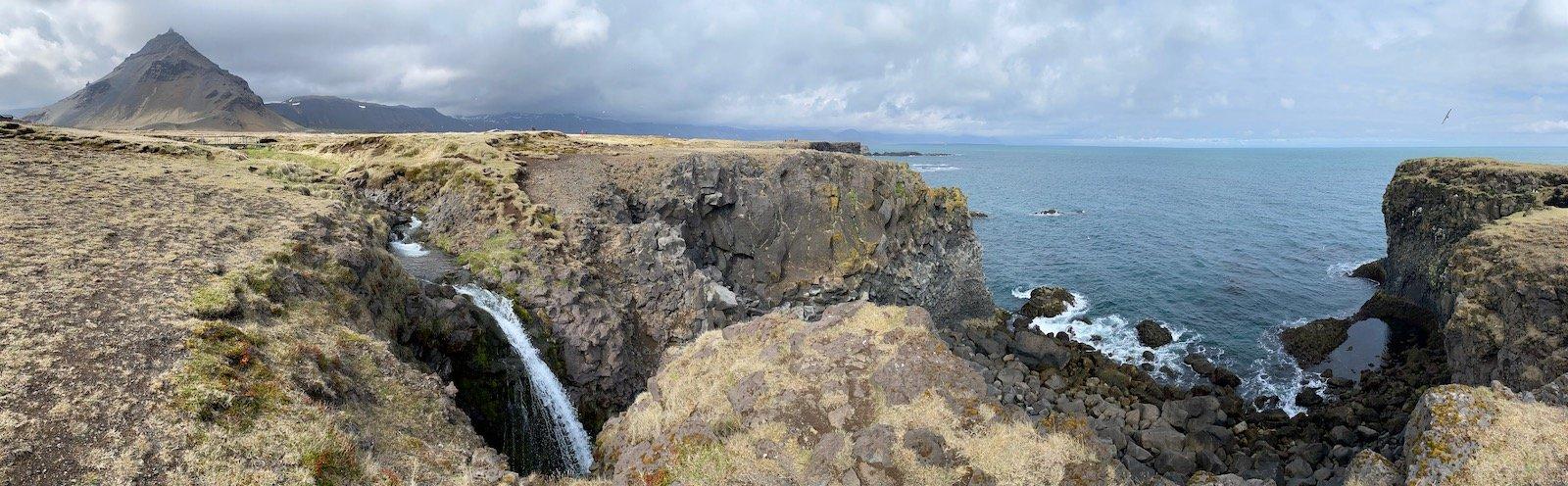 Scenic view of Near Arnarstapi on the Snæfellsnes Peninsula in Iceland.